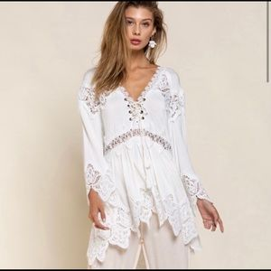 New! POL Ivory BoHo Front Tie Tunic Top